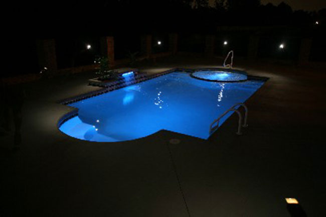 Wonderful Inground Pools At Night With Decorating Ideas